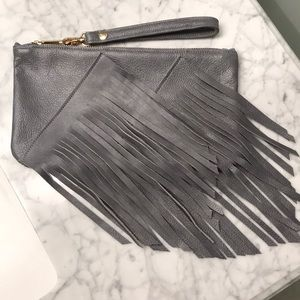 Gray Leather Fringe Clutch